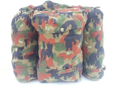 Genuine Surplus Vintage Swiss Army Camo Rucksack Cotton Blend 3 Pocket Backpack • 14.99£