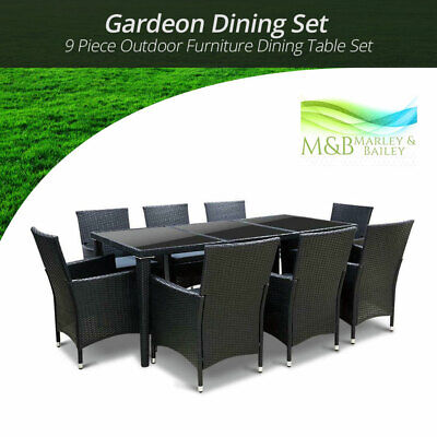 AU867.27 • Buy Gardeon Furniture Dining Table Set Outdoor Chairs Patio Setting Wicker 9 Pcs