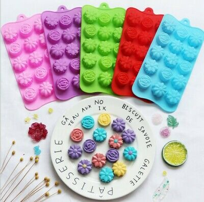 Silicone Rose Flower Chocolate Mould Baking Ice Cube Jelly Valentine Wax Melt  • 3.99£