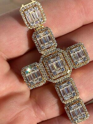 $62.08 • Buy Yellow Gold Over Solid 925 Silver Men's Large Baguette Diamond Cross Necklace 2