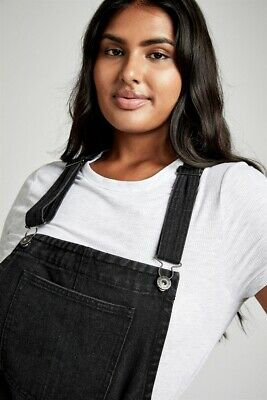 AU15 • Buy Cotton On Womens Curve Classic Denim Pinafore Curve  In  Black
