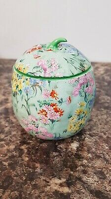 Lovely Vintage Shelley Melody Chintz Green Apple Preserve Pot Slotted Lid  • 25£