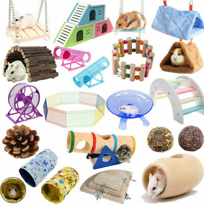 Pet Hamster Hanging Swing Bed Running Wheel Rat Guinea Pig Cage Tube Tunnel Toys • 2.18£
