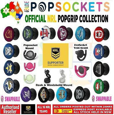 AU16.50 • Buy Authentic NRL Rugby League PopSockets PopGrip Pop Socket Swappable Car Mount