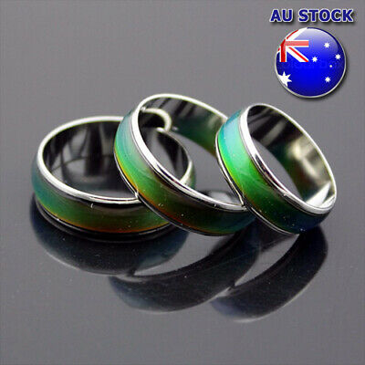 AU5.96 • Buy 18K White Gold Plated Mood Temperature Colour Changing Emotion Feeling Rings