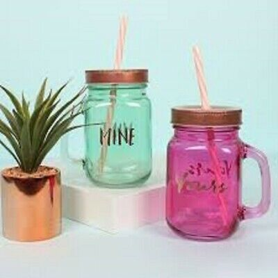 Mine And Yours Glass Drinking Jars With Straws & Metal Lids Valentines Gift  • 10.95£