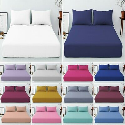 Deep Fitted 40 Cm/16  Bed Sheets 100% Poly Cotton Single Double,Super King Size  • 9.49£