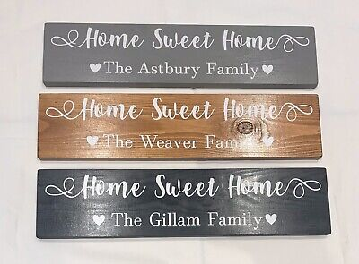 Personalised Family Sign Home Sweet Home Sign Plaque Gift New Home • 12£