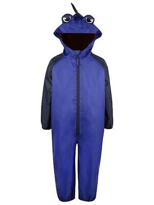 BNWT Baby Boys Blue Shower Resistant 3D Hooded Rain Splash Puddle Suit • 15.99£
