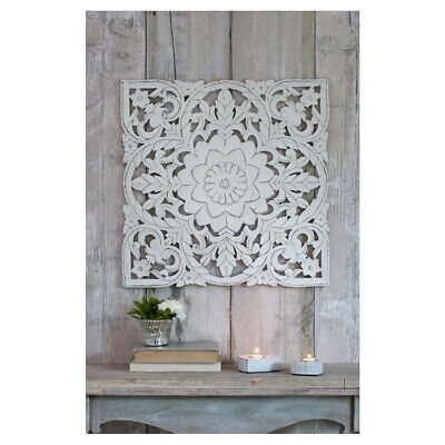 £59.95 • Buy Large Hand Carved Distressed White Mango Wood Art Square Wall Panel Decoration