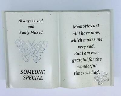 Large Diamante Butterfly Book Graveside Memorial Scroll Plaque Ornament Grave  • 9.99£