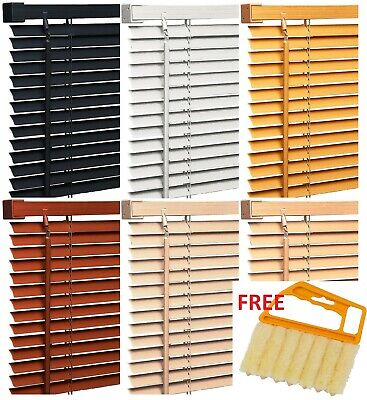 Pvc Wood Effect Venetian Window Blinds Home Office Easy Fit + FREE BLIND CLEANER • 10.95£