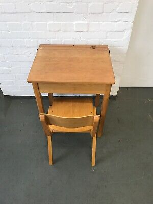Vintage Old Wooden School Desk, With Lift Up Lid And School Chair. • 75£