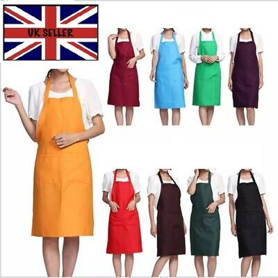 £3.35 • Buy Plain Apron With Front Pocket Chefs Butchers Kitchen Cooking Craft Baking