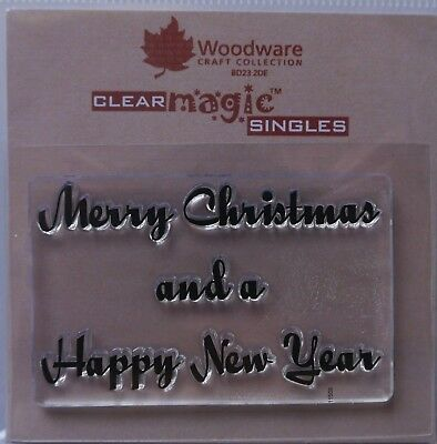 Woodware Clear Stamp MERRY CHRISTMAS And A HAPPY NEW YEAR • 2.35£
