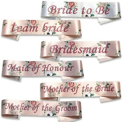 Hen Party Sashes Team Bride Classy Floral Rose Gold Night Do Accessories Sash • 2.49£