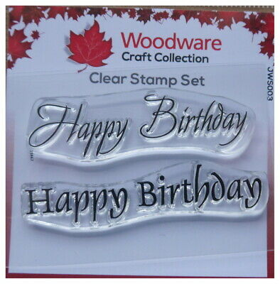 Woodware Clear Acrylic Stamp Set HAPPY BIRTHDAY Set Of 2 • 2.25£
