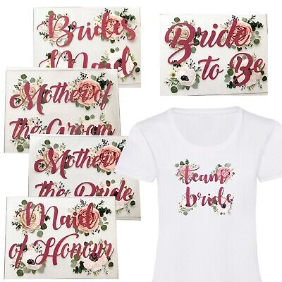 £2.99 • Buy A5 Floral Rose Gold Team Bride Hen Party Tribe Iron On Vinyl T Shirt Transfer