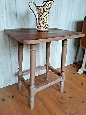 Solid Wooden Side Table,annie Sloan Painted Base, Mahogany Top • 4.99£
