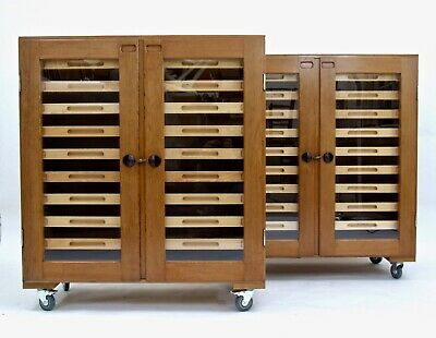 Superb Pair Vintage Mid-century Collectors Specimen Plan Chest Cabinet Storage • 1,795£