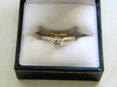 Ladies 9ct Gold Solitaire Diamond Ring. Size K.  2.8 Grams. (Nice Clear Stone) • 69£