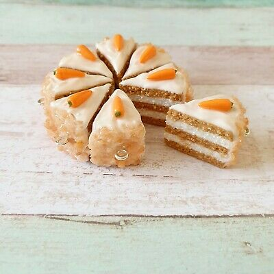 Carrot Cake Slice Charm Stitch Marker Miniature Food Gift Birthday Mothers Day • 6.99£