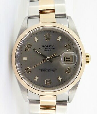 AU7995 • Buy .Auth 2000 Rolex 15203 Oyster Perpetual Date Mens 18K & Steel Watch In Box