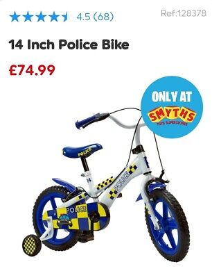 Childs Police Bike With Stabilizers White Blue Yellow 14inch 3, 4, 5, 6, Years • 48£
