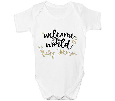 £6.99 • Buy Personalised Welcome To The World Baby Grow Any Name Fun Vest Cute Gift