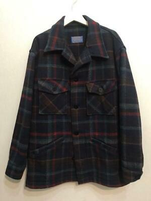 PENDLETON Wool Jacket Outer Coat Plaid Men's L Size Navy Red Genuine From Japan • 140.50£