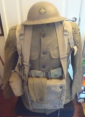 Ww1 Usa Doughboy Uniform Helmet Gas Mask Side Hat Water Bottle Pouches  • 1,600£