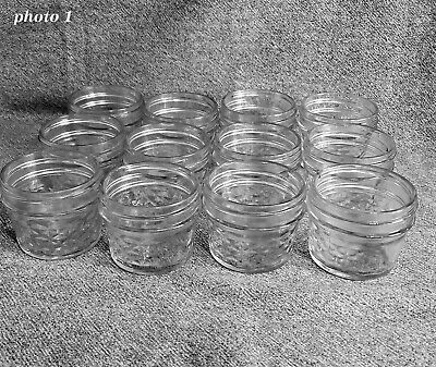 $19.99 • Buy 12 Jelly Jars - Quilted Pattern - 4 Oz - Anchor Glass Logo On One Of Them.