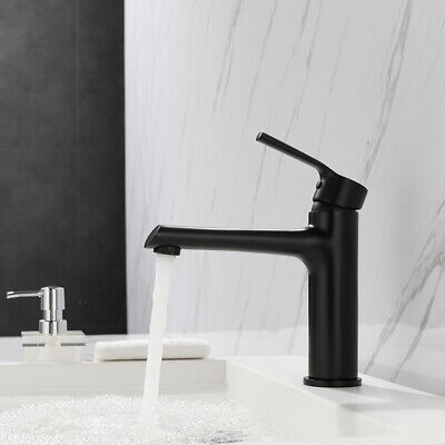 AU65 • Buy Mixer Taps Bathroom Matte Black Round Sink Faucet Solid Brass Top Mounted
