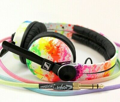 UV Rainbow Sennheiser HD25 By Custom Cans With Glowing White Or Rainbow Cable • 220£
