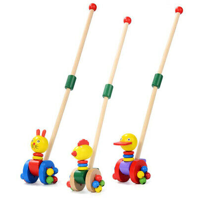 Wooden Animal Push Pull Along Toys Puzzle Trolley Pushing Baby Kids Toys SI • 4.88£