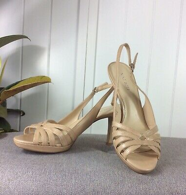 AU39 • Buy Nine West Size 7.5M Nude Leather Strappy Buckle Closure High Stiletto Heel