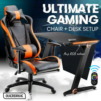 AU439 • Buy 【EXTRA15%OFF】OVERDRIVE Gaming Chair Desk Racing Seat Setup Black PC Combo