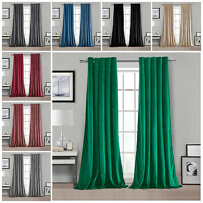 Luxury Plush Velvet PAIR Curtains Eyelet Ring Top Fully Lined Ready Made 90 X90  • 38.99£