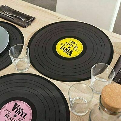 SET OF 4 VINYL RECORD RETRO DESIGN PLACE MATS /TABLE PLACE MAT  39 Cm And 11 Cm • 6.99£