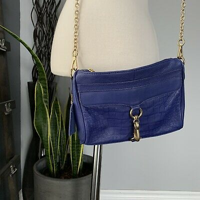 $ CDN45 • Buy Cobalt Blue Leather Danier Zippered Crossbody Handbag Purse Gold Chain
