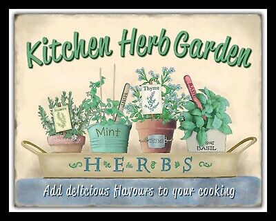 £4.99 • Buy Kitchen Herb Garden Rosemary Mint Thyme Basil Cook Chef Metal Plaque Sign 1260