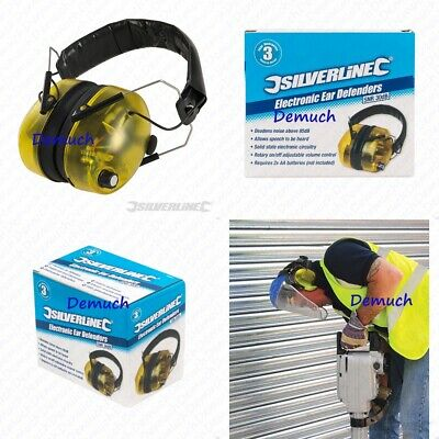 Silverline Protection ELECTRONIC EAR DEFENDERS Microphone Sound Control LED 85DB • 23.99£