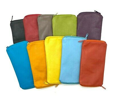 AU24.95 • Buy Genuine Leather Double Sided Glasses Spectacle Case 12 Colours New
