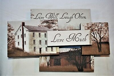 Live Well Laugh Often Love Much Canvas Wall Art Primitive Home Decor Quote • 15.60£