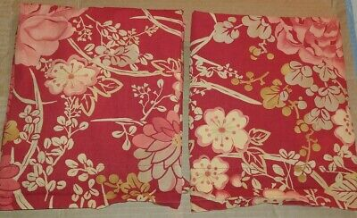 $18.99 • Buy Set Of 2 POTTERY BARN Standard Shams Dark Red Yellow Gold Floral Leaves Mums