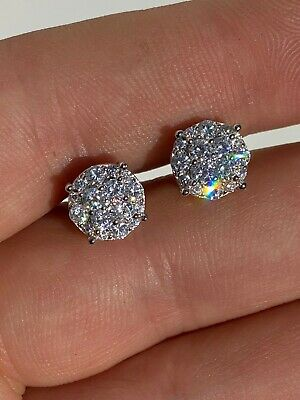 $23.38 • Buy Real Solid 925 Silver Iced CZ Hip Hop Men's Earrings 1/3  Cluster Round Studs