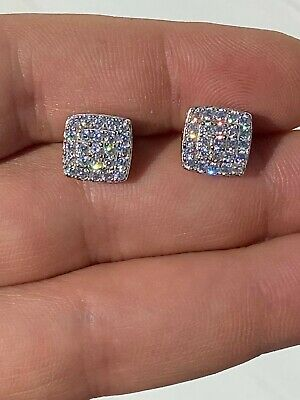 $24.28 • Buy Real Solid 925 Silver Iced Diamond Earrings Screw Back Square Mens Flooded Out