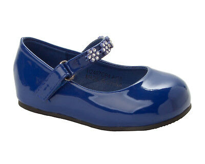 Girls Navy Patent Diamante Party Fancy Wedding Pumps Dolly Shoes Uk Size 4-10 • 10.99£