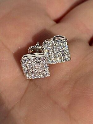 $21.58 • Buy Real Solid 925 Silver Iced Diamond Earrings Screw Back Mens Square 1/3  Hip Hop
