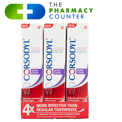 Corsodyl ® Daily (ULTRA CLEAN) Toothpaste HELP BLEEDING GUM, REMOVE PLAQUE3x75ml • 17.50£